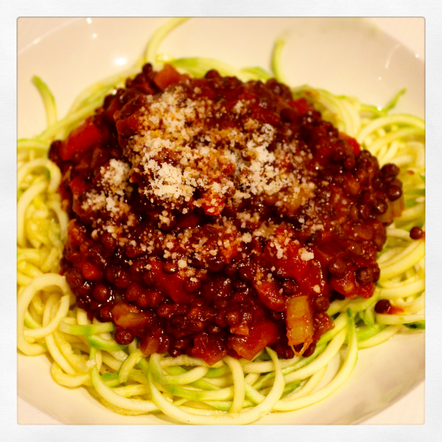 Lentil Bolognese with Courgetti