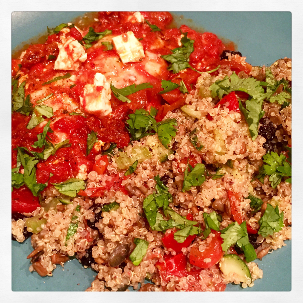 Stir Fried Vegetable Quinoa and Sun Dried Tomato Roasted Cod